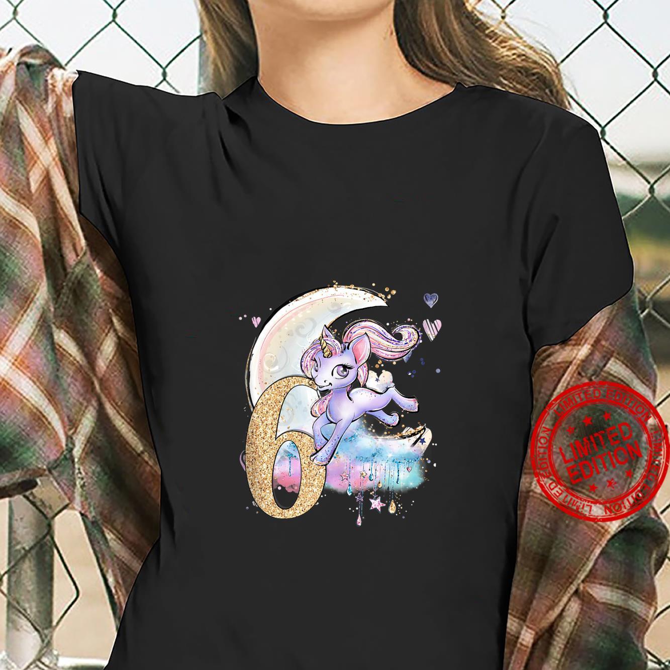 6th Birthday Unicorn Girls Moon Celestiial Shirt ladies tee