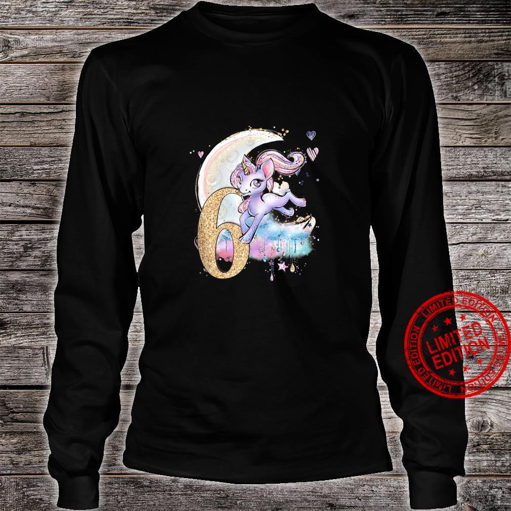 6th Birthday Unicorn Girls Moon Celestiial Shirt long sleeved