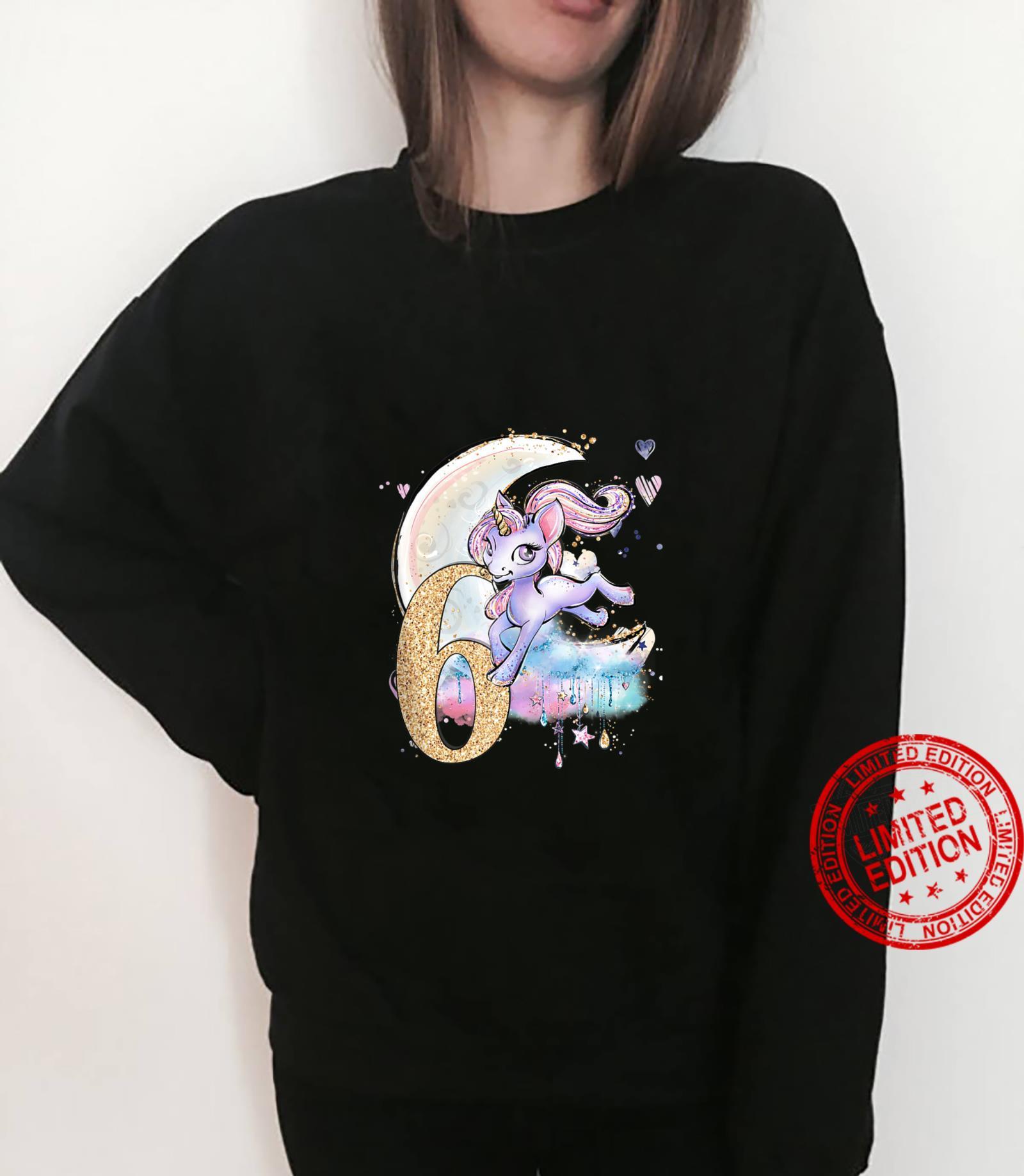 6th Birthday Unicorn Girls Moon Celestiial Shirt sweater
