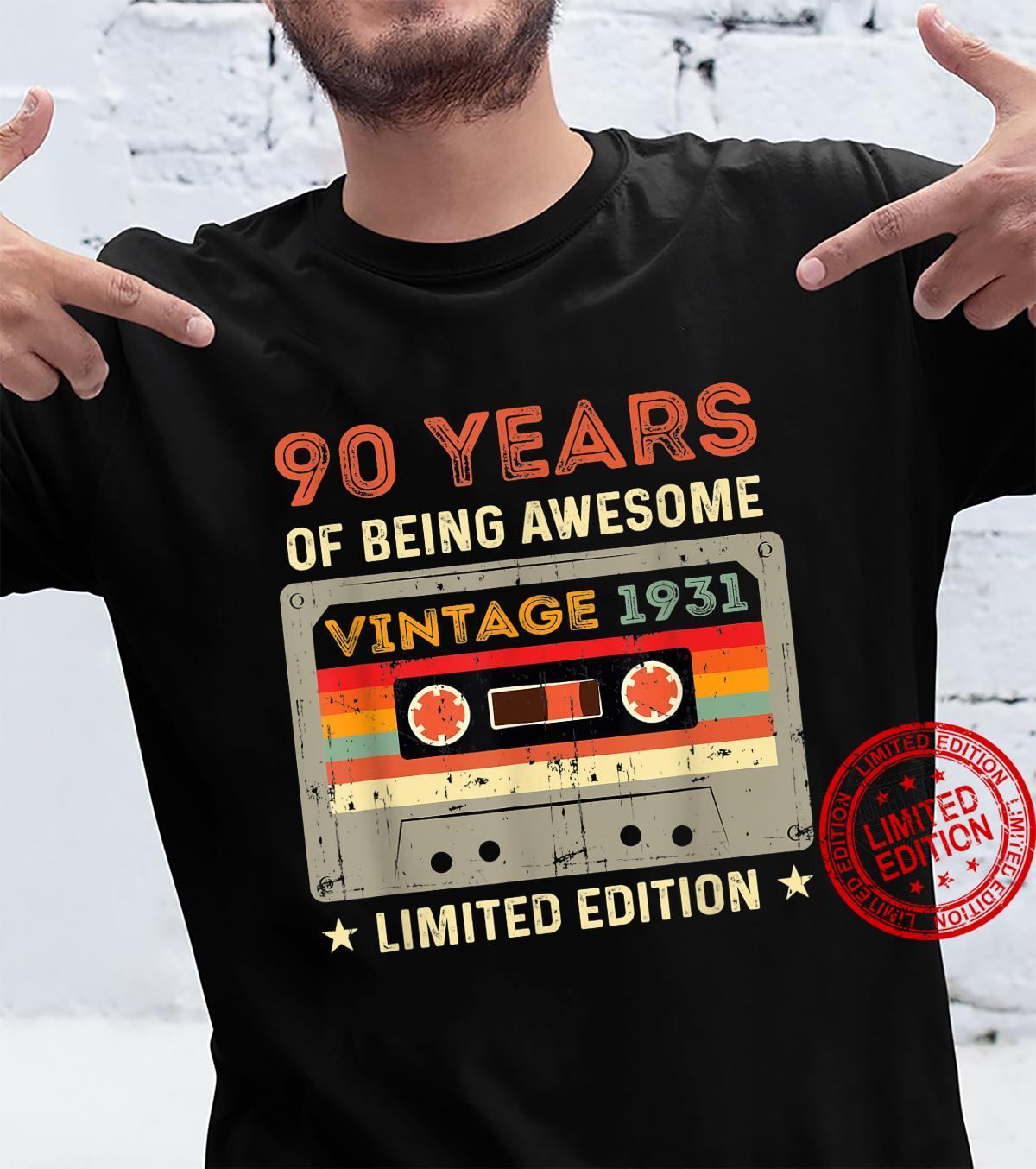 90 year old vintage 1931 limited edition 90th birthda Shirt