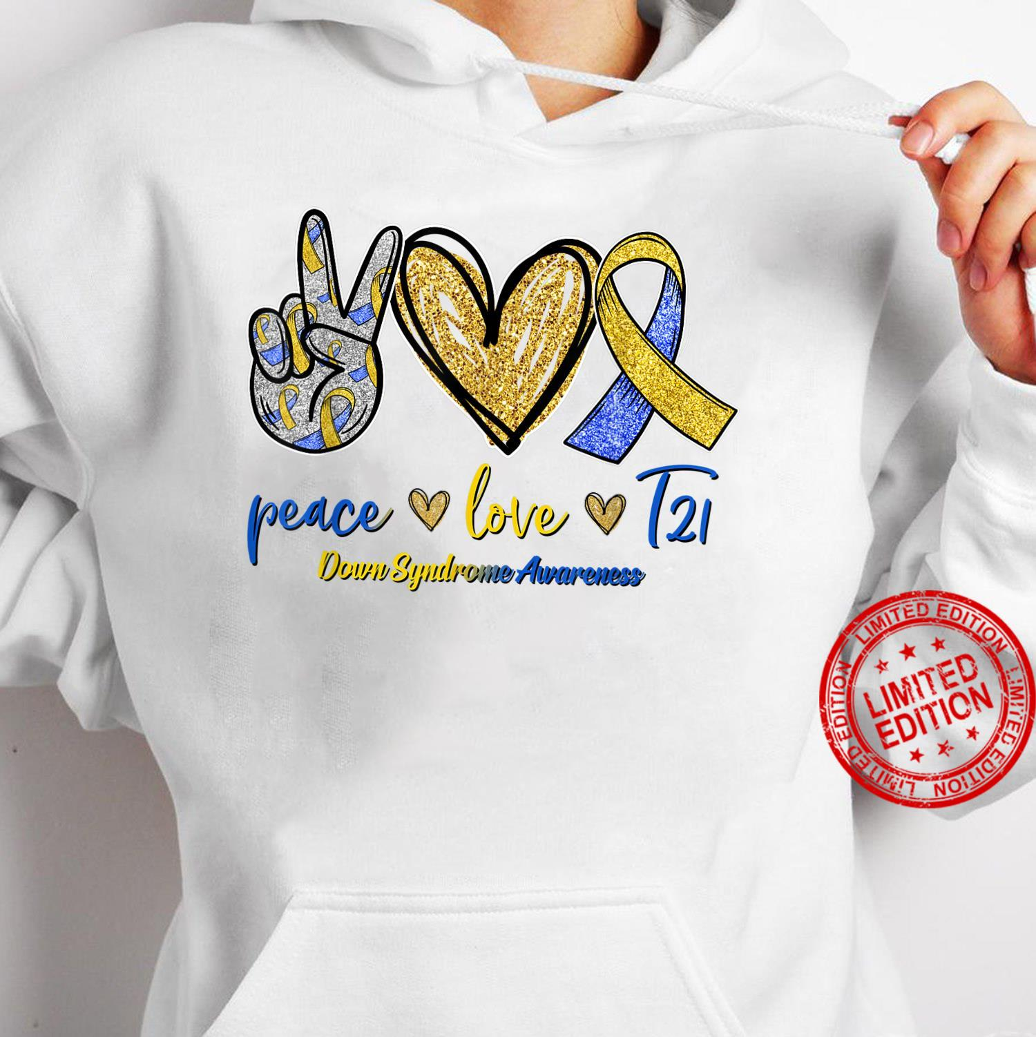Blue Yellow Ribbon Peace Love T21 Down Syndrome Awareness Shirt hoodie