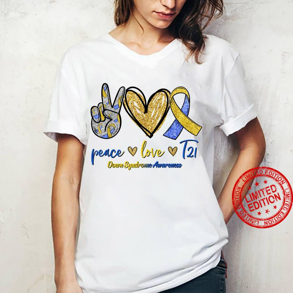 Blue Yellow Ribbon Peace Love T21 Down Syndrome Awareness Shirt ladies tee