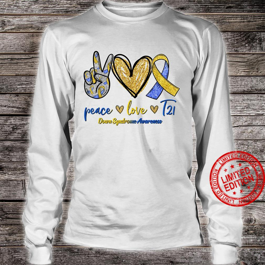Blue Yellow Ribbon Peace Love T21 Down Syndrome Awareness Shirt long sleeved