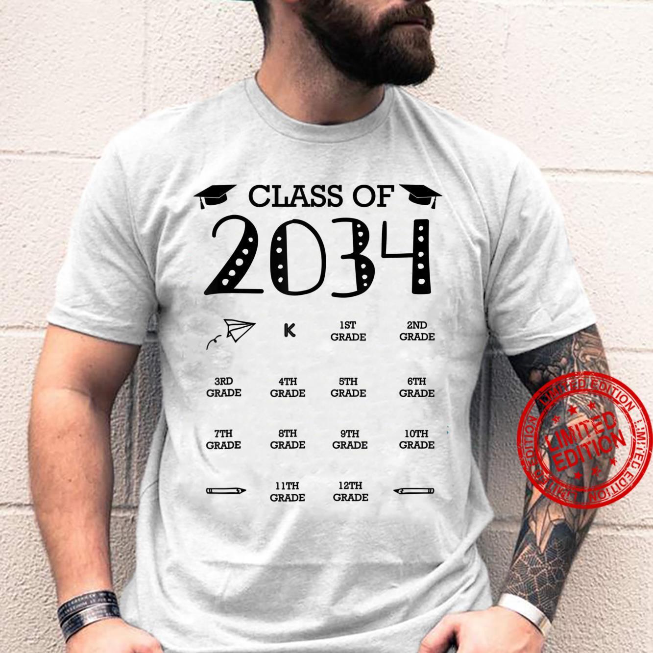 Class of 2034 Graduation Handprints Grow With Me Shirt