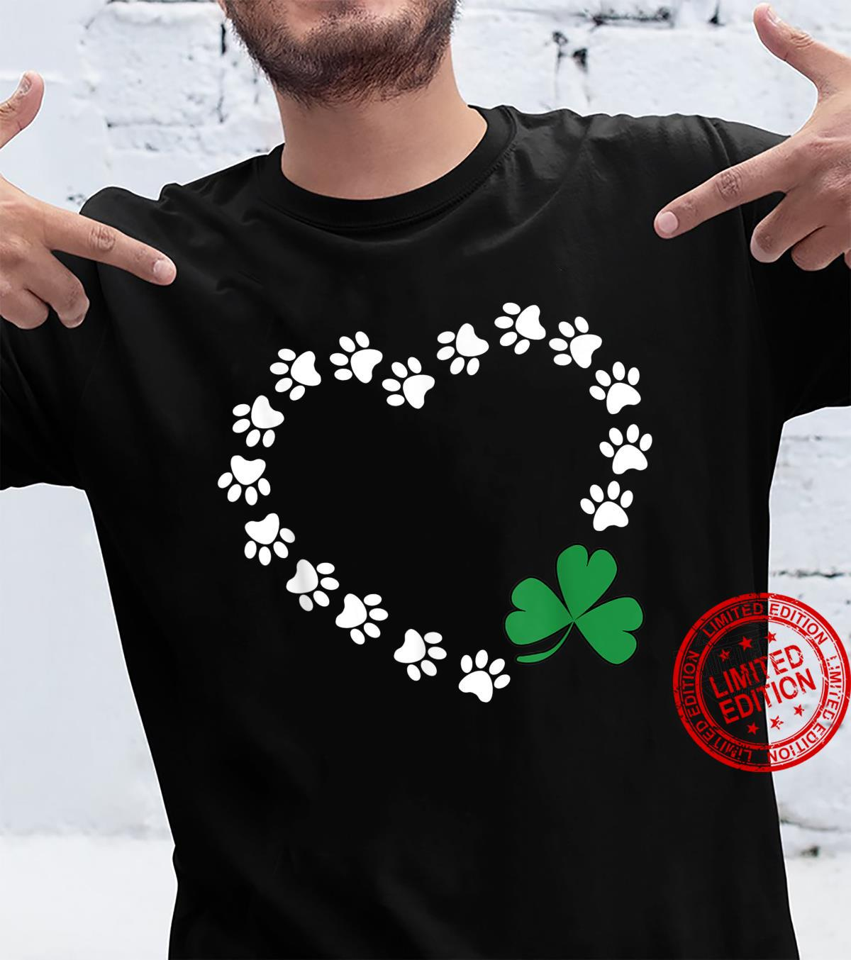 Dog Owners Paw Prints On My Heart St Patrick's Day Shamrock Shirt