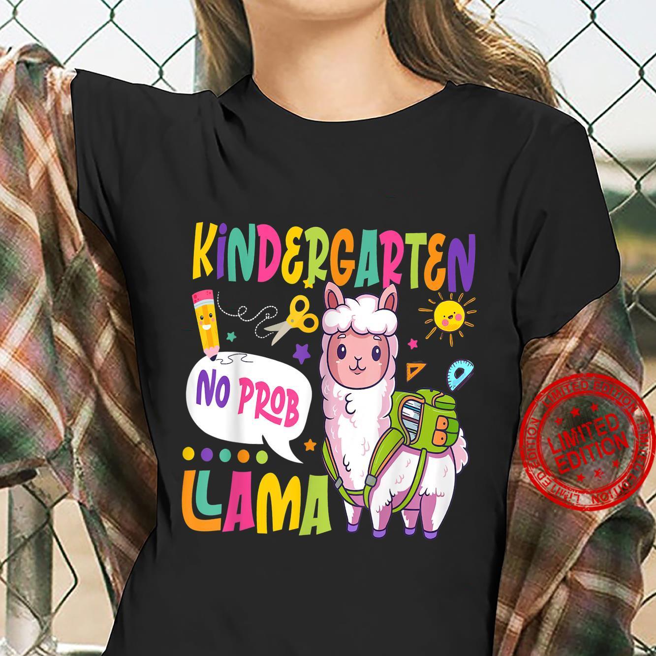 Kindergarten No Prob Llama Happy First Day Of School Shirt ladies tee