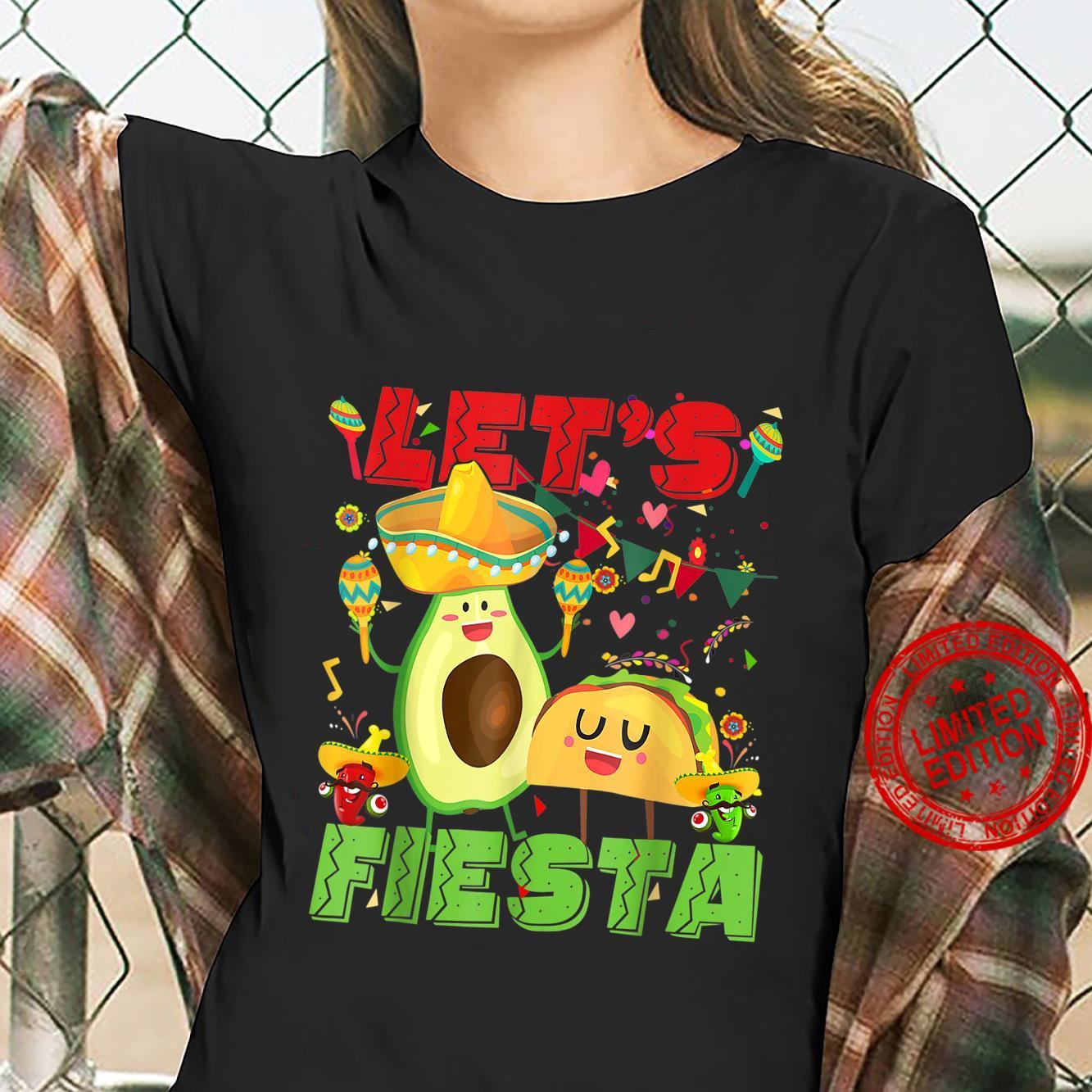 Let's Fiesta Avocado And Tacos Cinco De Mayo Mexican Party Shirt ladies tee