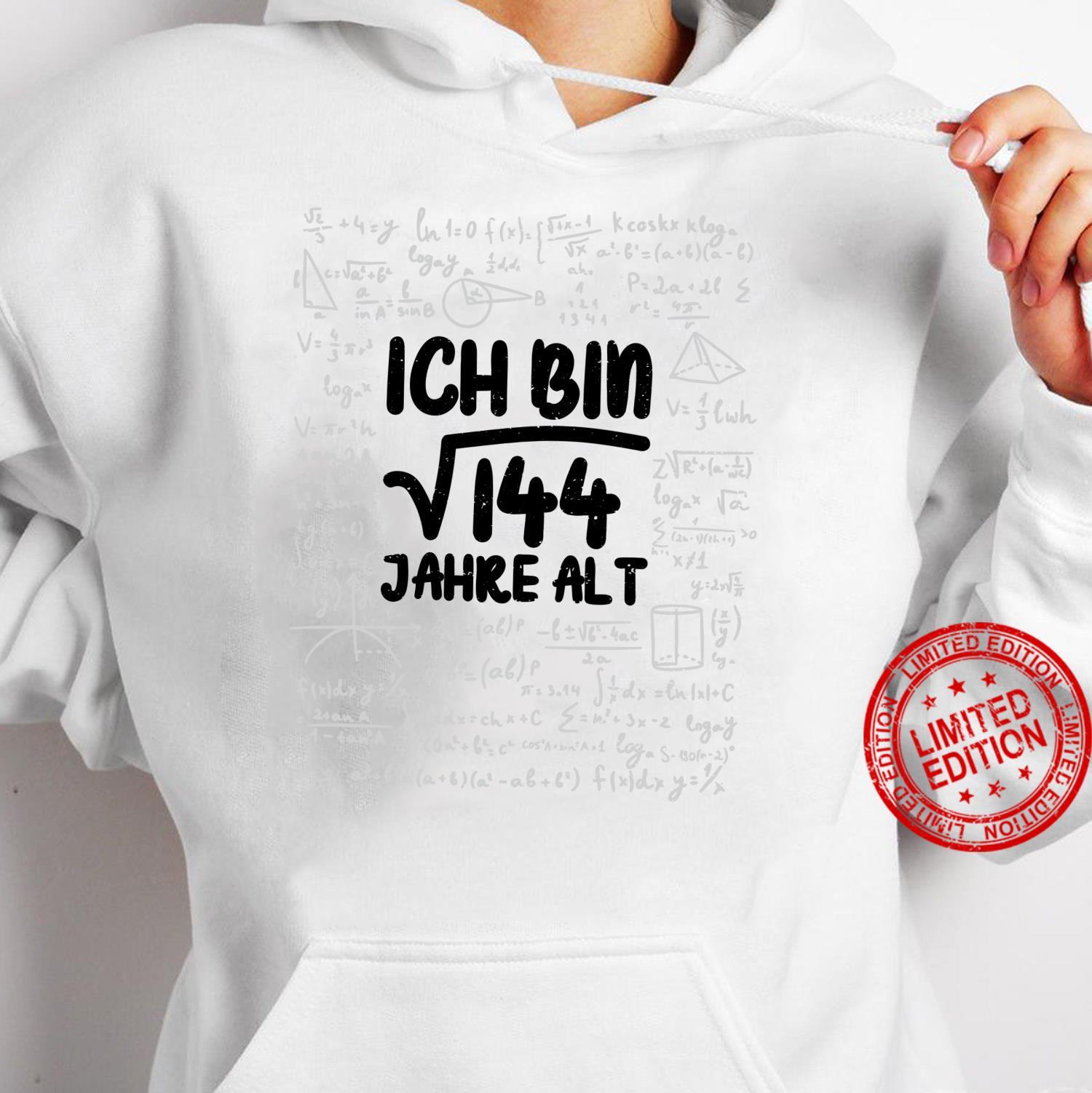 Mathe Wurzel 144 Jahre Alt 12. Geburtstag Shirt hoodie