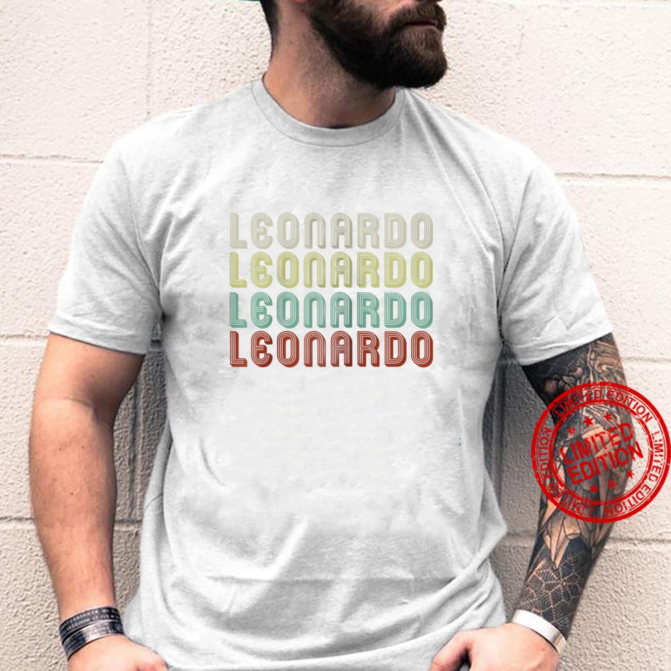 Mens Name Is Leonardo In Retro Vintage Disco Personalized Shirt