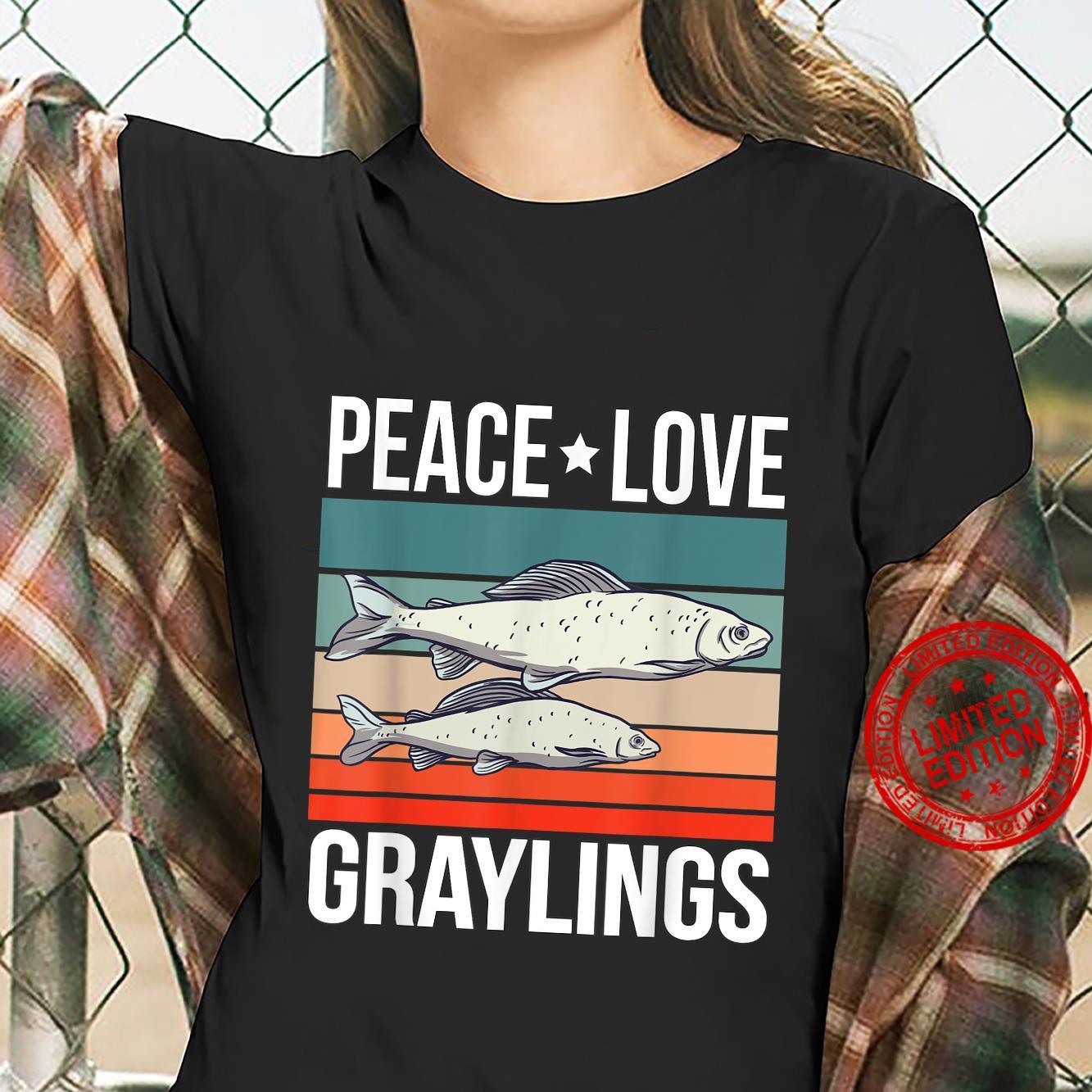 Peace Love Graylings Quote Retro Art Fish Fishing Vintage Shirt ladies tee
