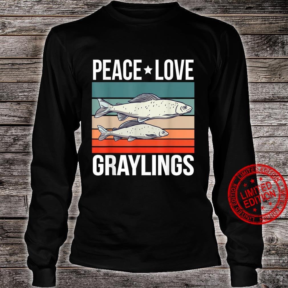 Peace Love Graylings Quote Retro Art Fish Fishing Vintage Shirt long sleeved