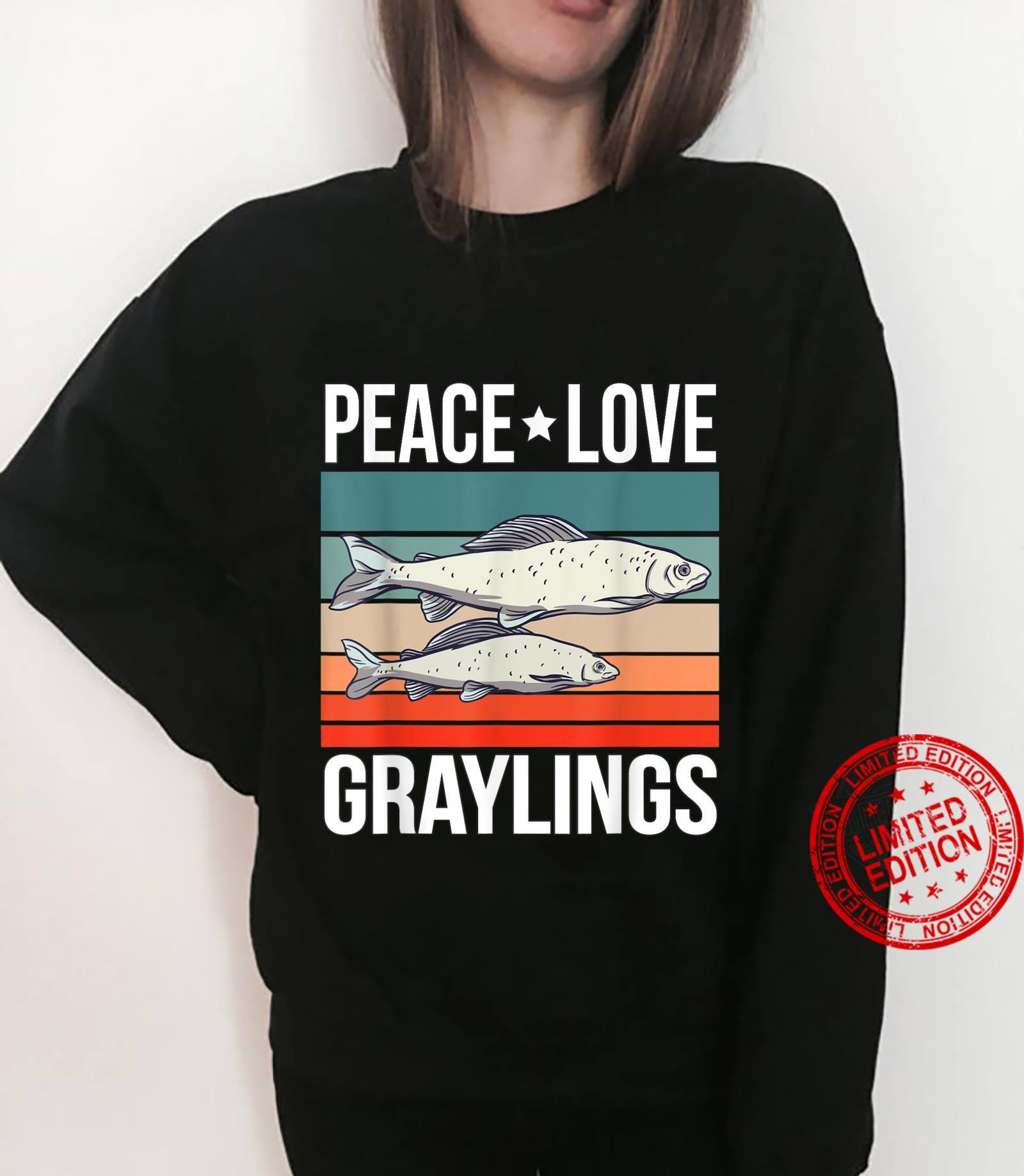 Peace Love Graylings Quote Retro Art Fish Fishing Vintage Shirt sweater