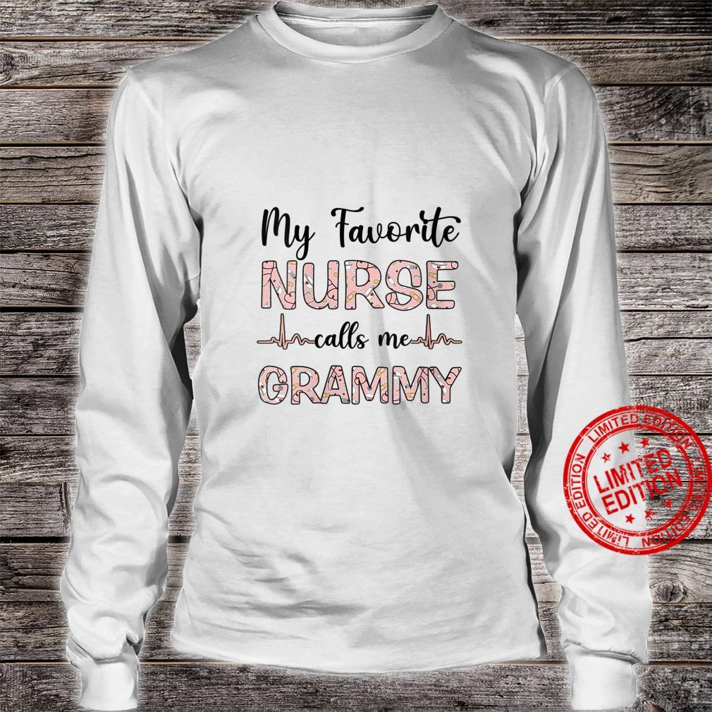 Womens My Favorite Nurse Calls Me Grammy Nurse Mother Shirt long sleeved