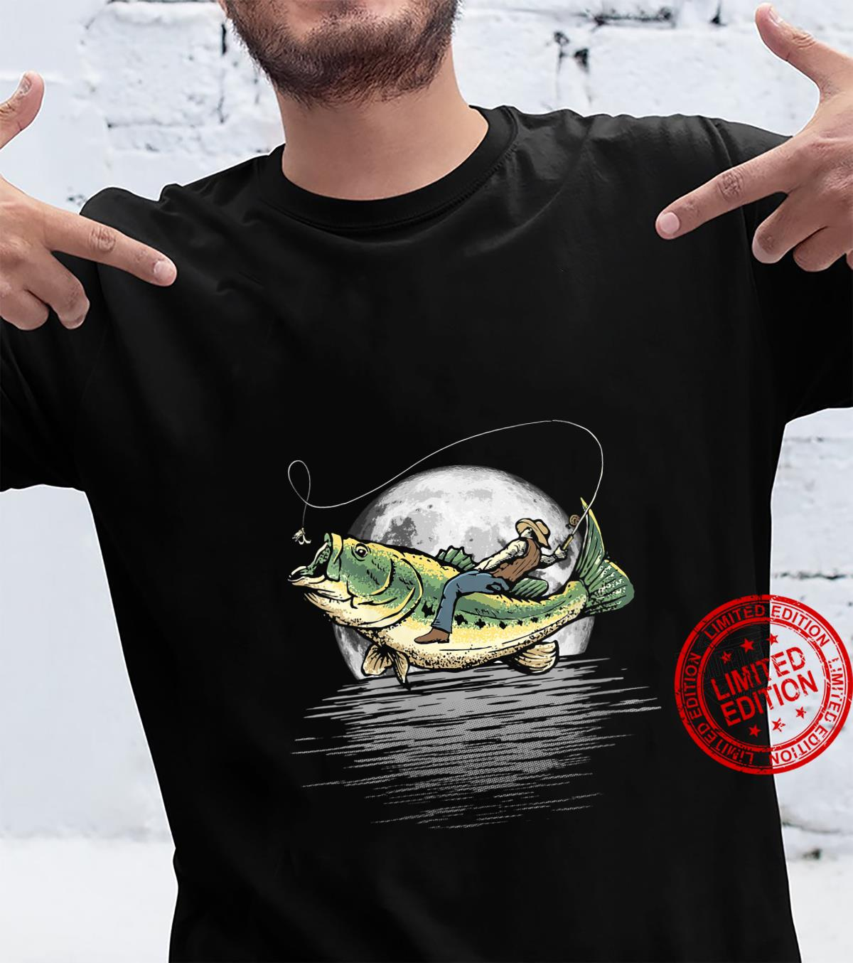 Womens Night Fishing Full Moon Largemouth Bass Rodeo Shirt