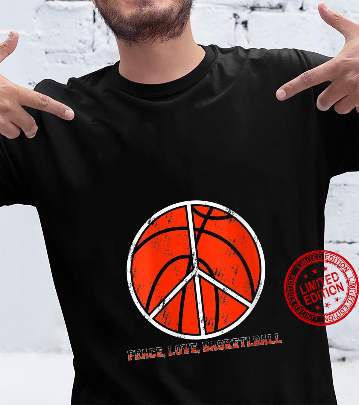 Womens Peace Sign Peace Love Basketball Shirt