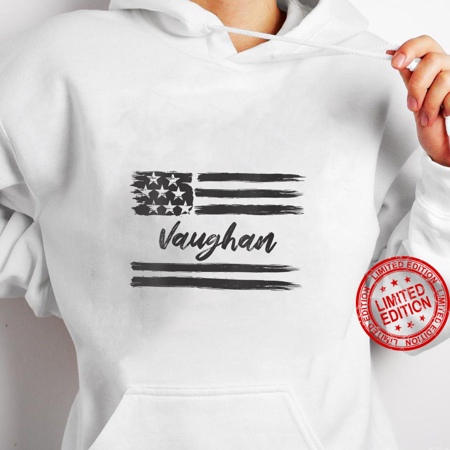 Womens Vaughan Personalized Name, Stars and Stripes, USA Flag Shirt hoodie