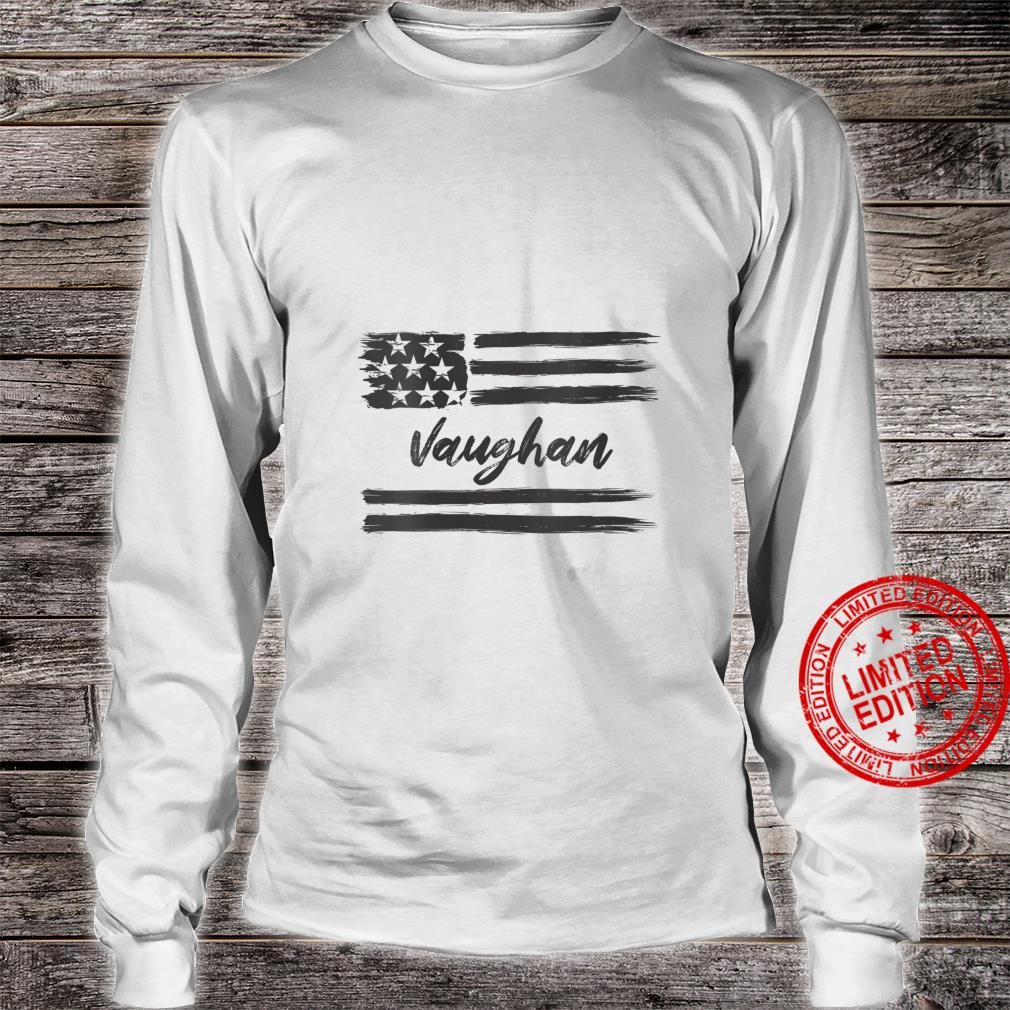 Womens Vaughan Personalized Name, Stars and Stripes, USA Flag Shirt long sleeved