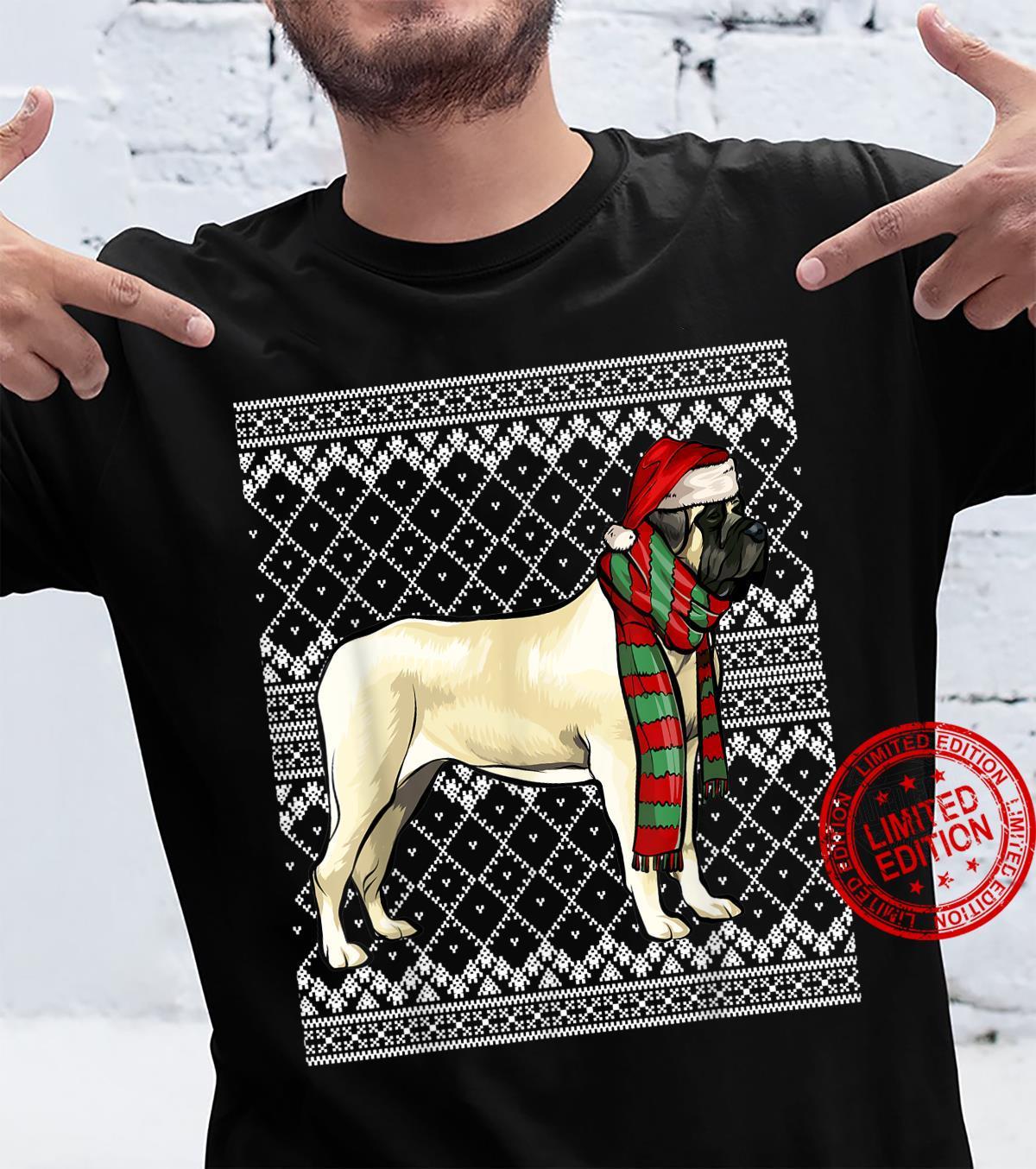 Xmas Mastiff Santa Claus Hat Ugly Christmas Shirt