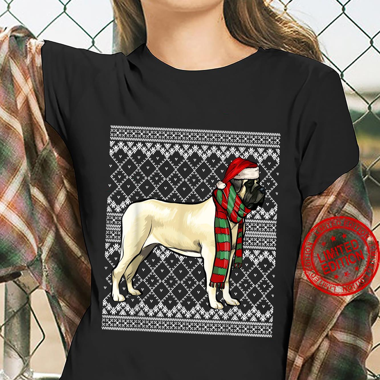 Xmas Mastiff Santa Claus Hat Ugly Christmas Shirt ladies tee