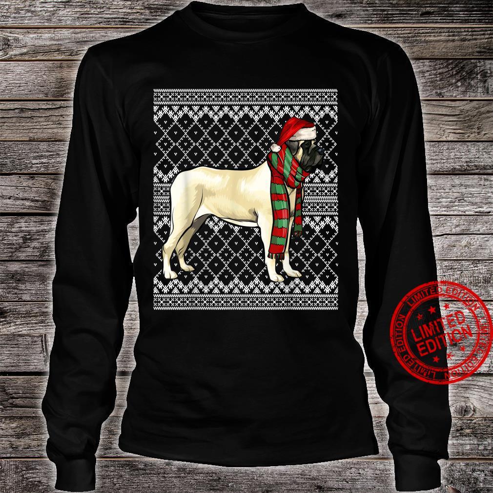 Xmas Mastiff Santa Claus Hat Ugly Christmas Shirt long sleeved
