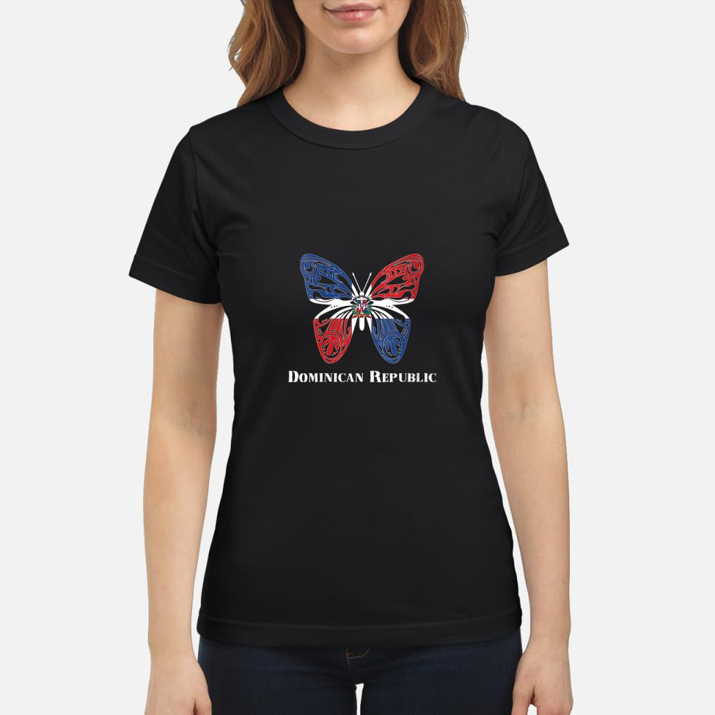 Cute Dominican Republic Flag Butterfly Parade Shirt ladies tee