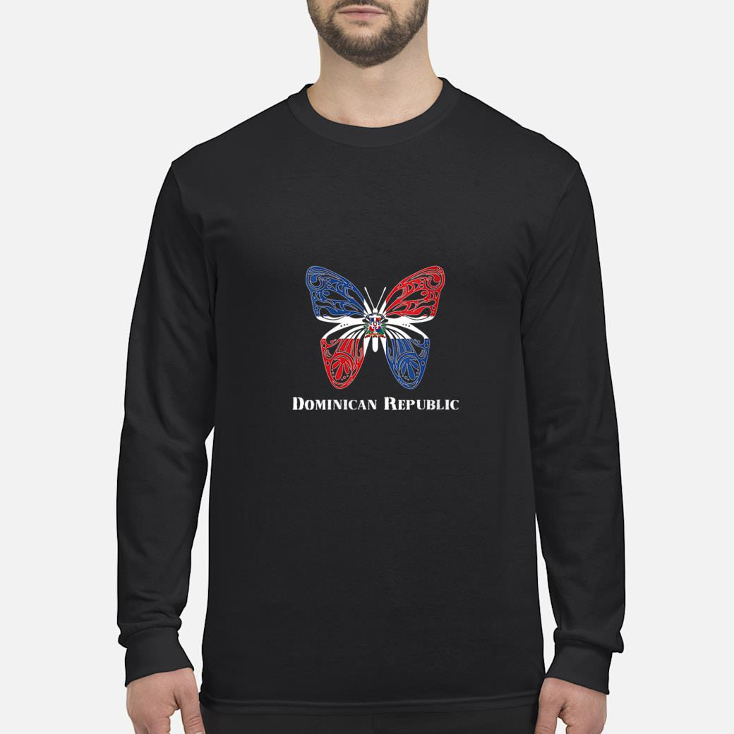 Cute Dominican Republic Flag Butterfly Parade Shirt long sleeved