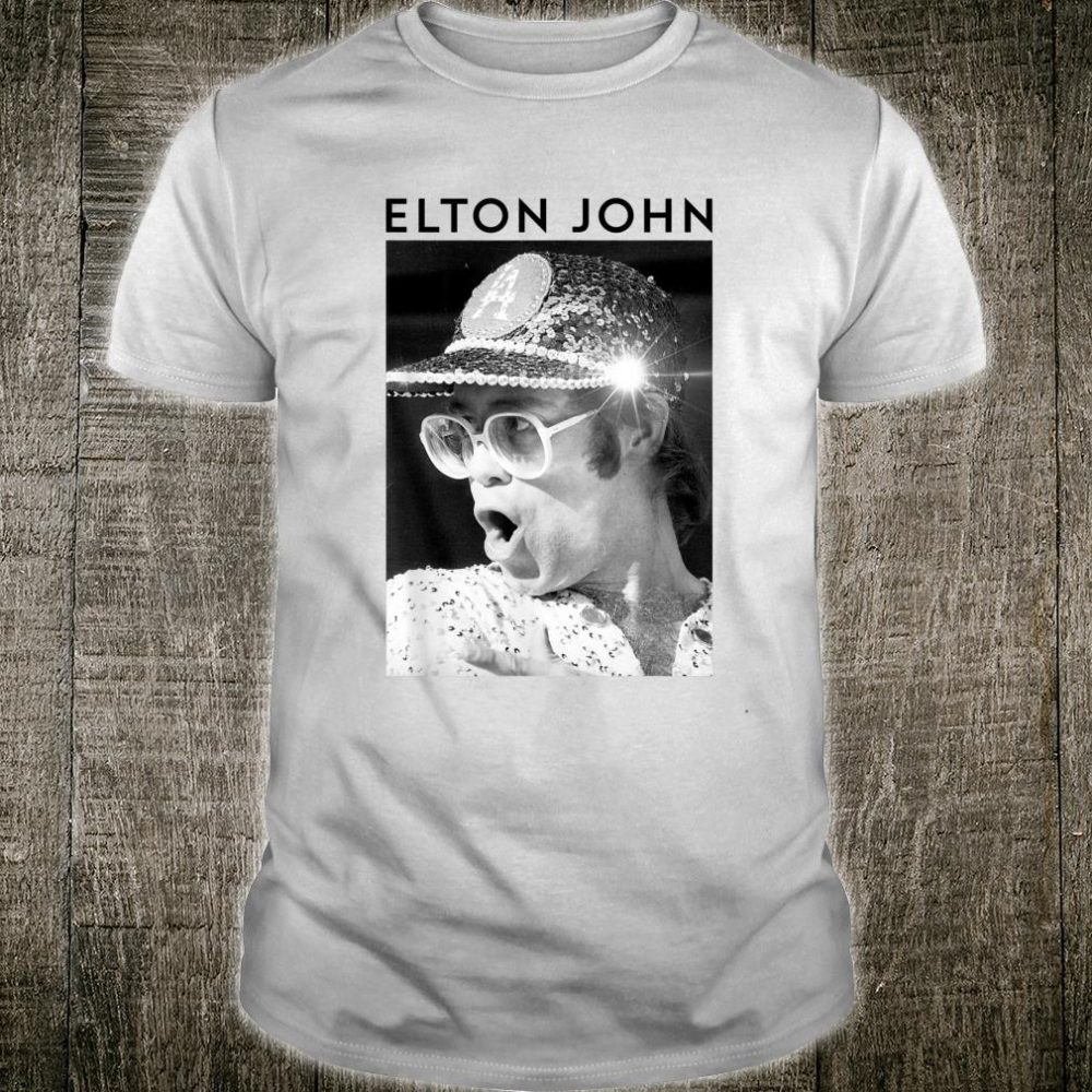 Elton John Official Black & White Photo Sequin Cap Shirt