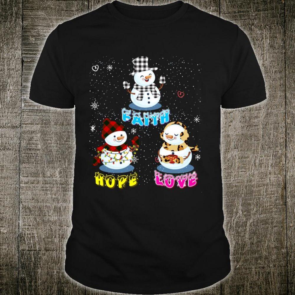 Faith Hope Love Hippie Peace Snowman Chistmas Leopard Shirt
