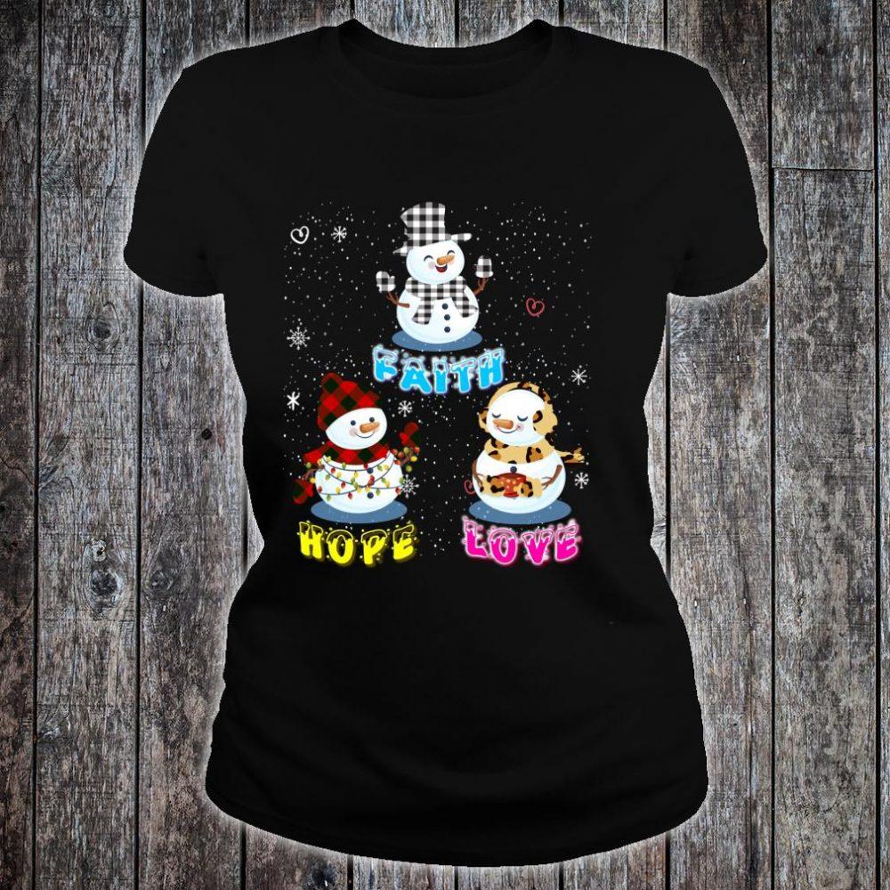 Faith Hope Love Hippie Peace Snowman Chistmas Leopard Shirt ladies tee