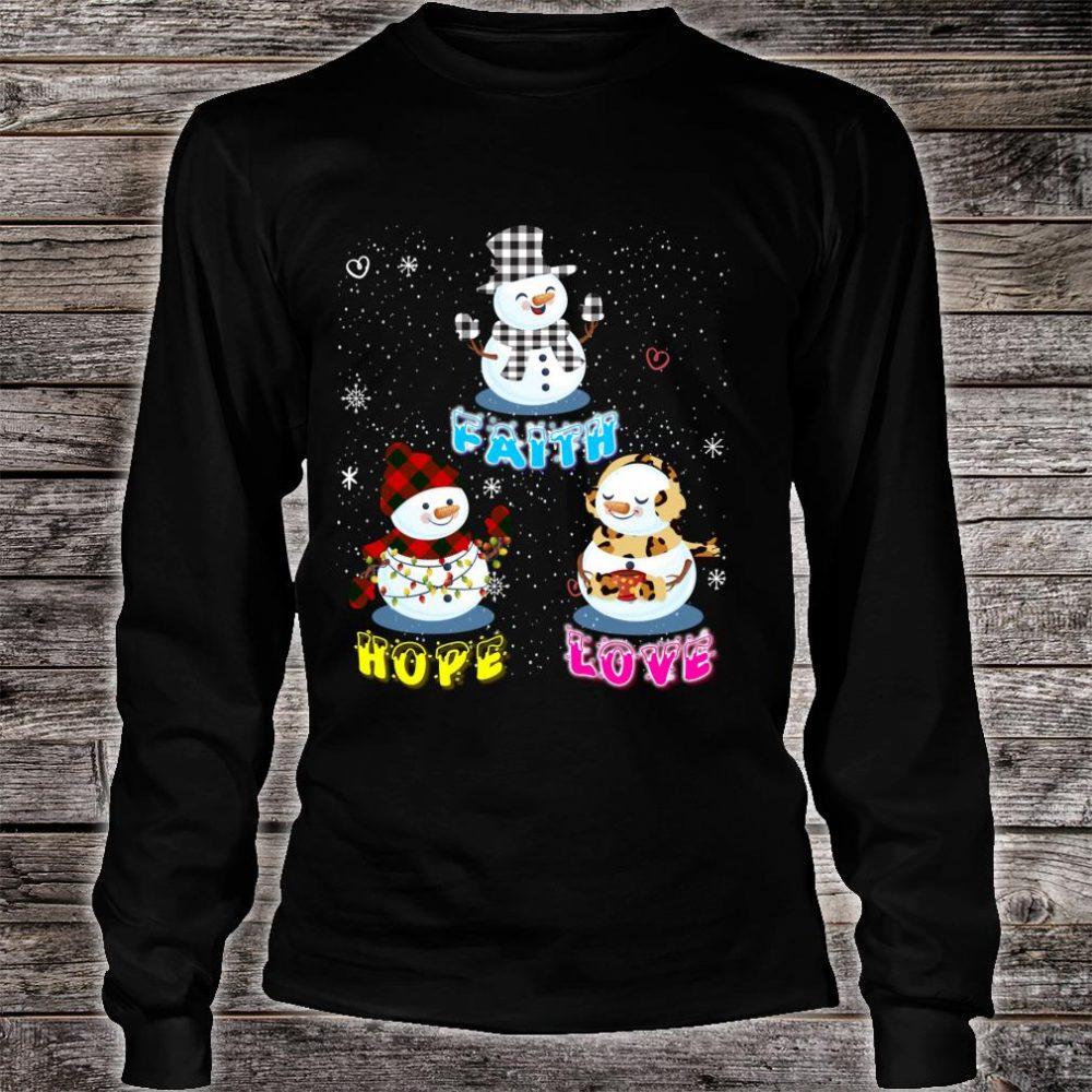 Faith Hope Love Hippie Peace Snowman Chistmas Leopard Shirt long sleeved