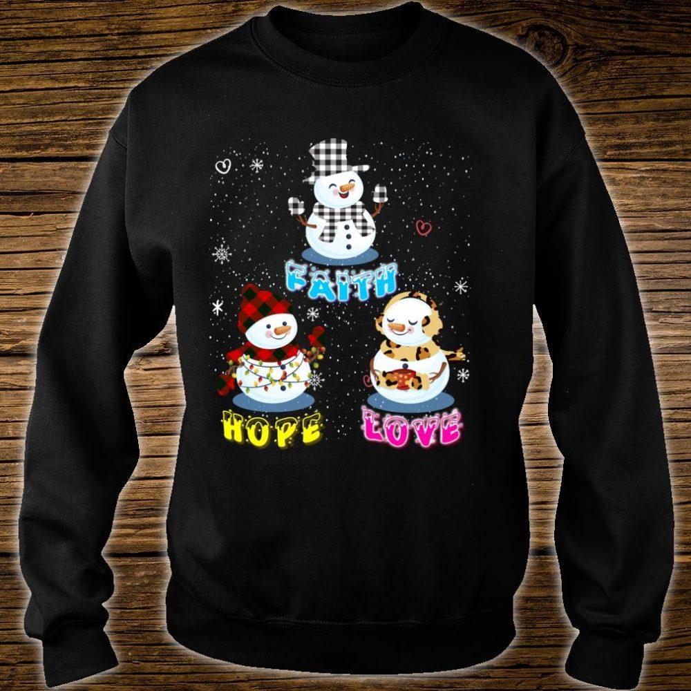 Faith Hope Love Hippie Peace Snowman Chistmas Leopard Shirt sweater