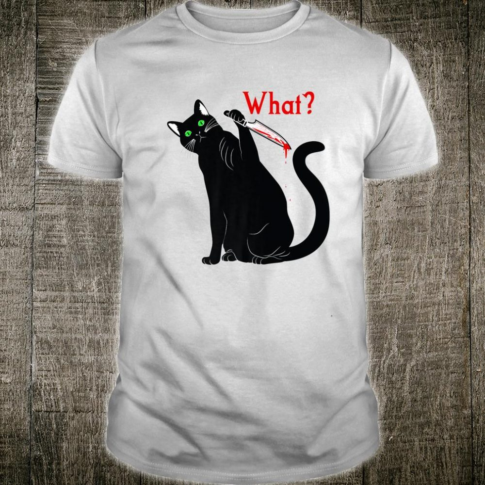 Halloween Black Cat Superstition Killer Cats with a Knife Shirt