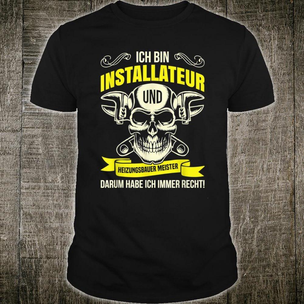 Heizungsbauer Anlagenmechaniker Klempner Installateur Beruf Shirt