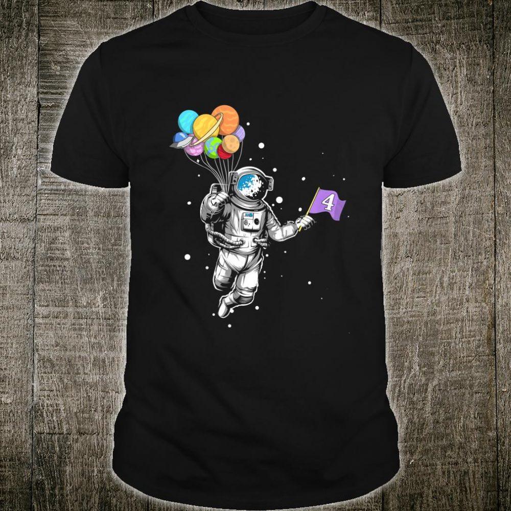 Kids Astronaut 4 Years Old Birthday Planet Solar System Shirt