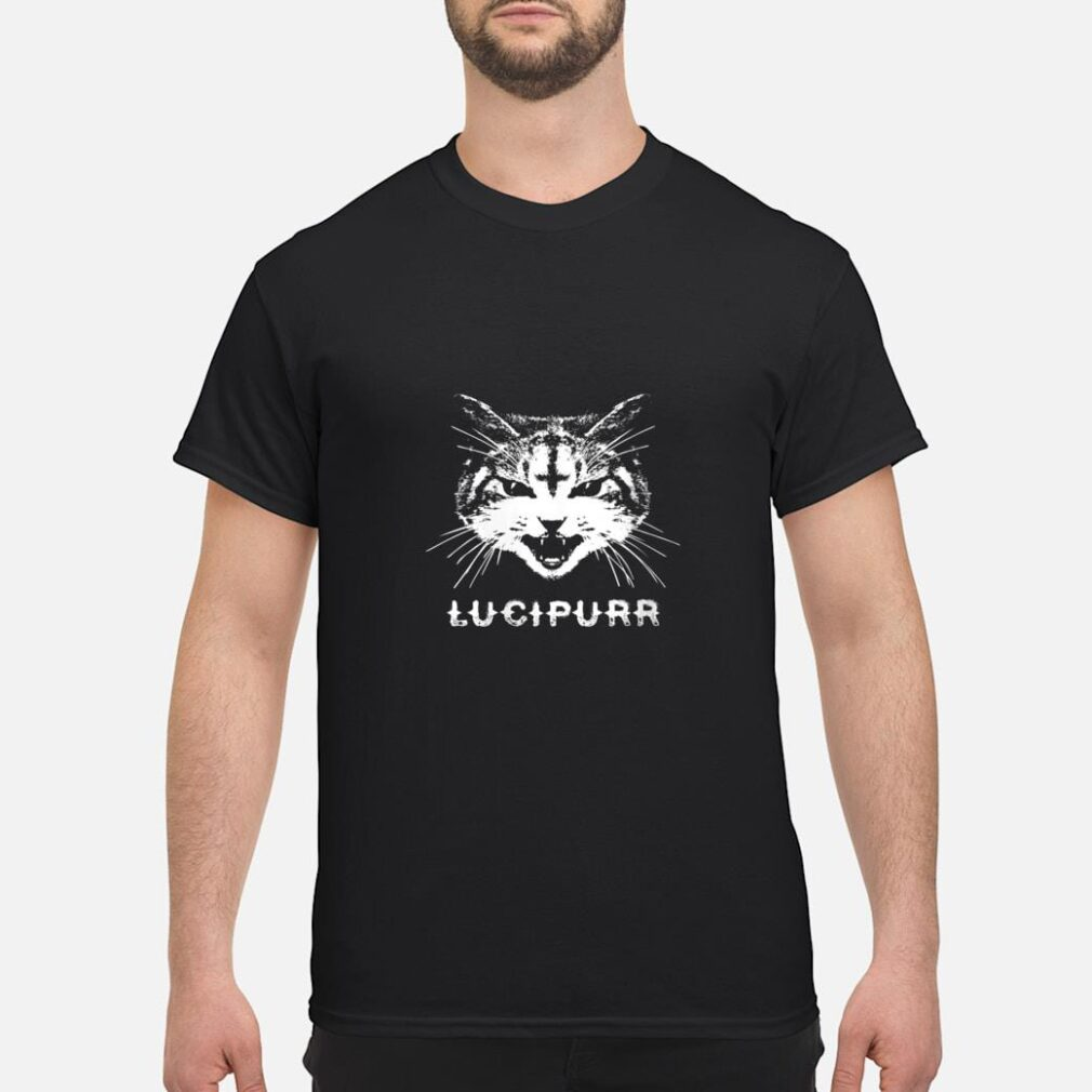 Lucipurr Satanic Cat with Inverted Upside Down Cross Shirt