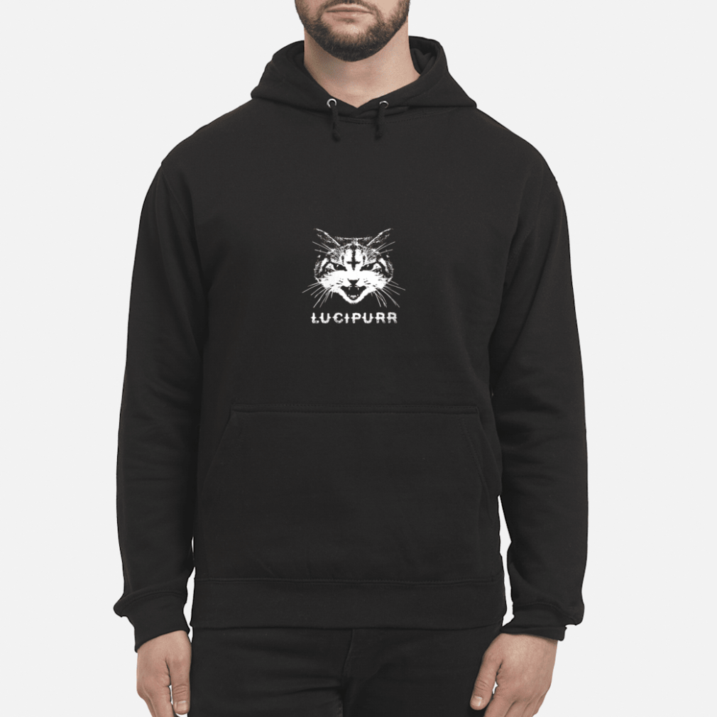 Lucipurr Satanic Cat with Inverted Upside Down Cross Shirt hoodie