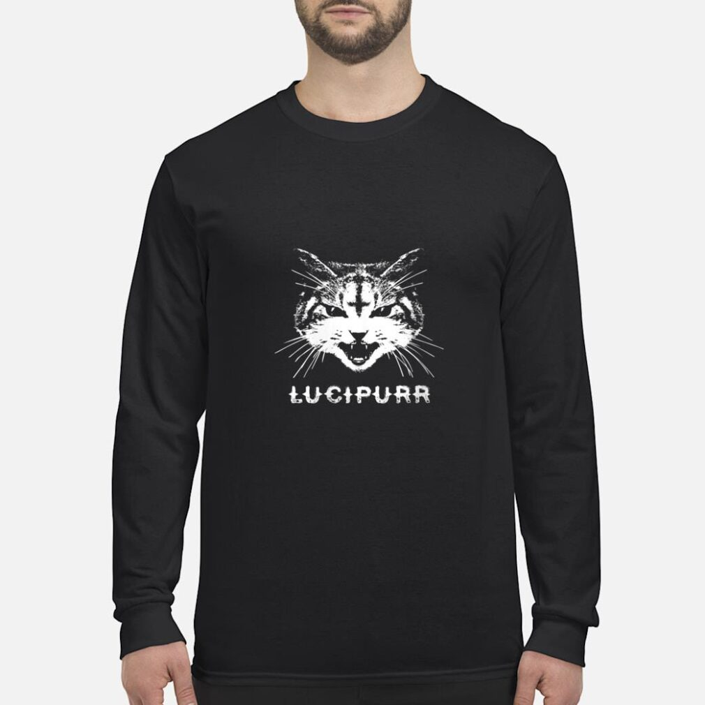 Lucipurr Satanic Cat with Inverted Upside Down Cross Shirt long sleeved