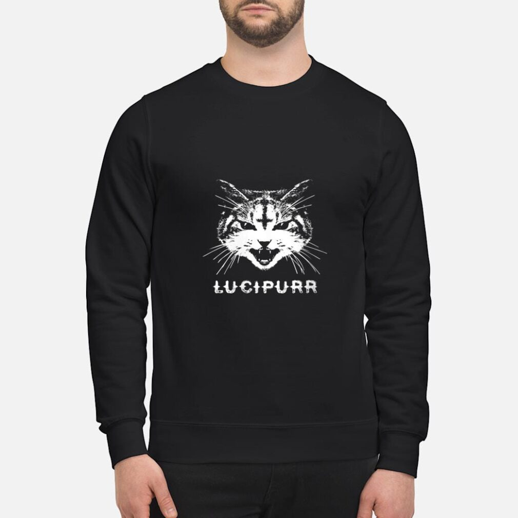 Lucipurr Satanic Cat with Inverted Upside Down Cross Shirt sweater