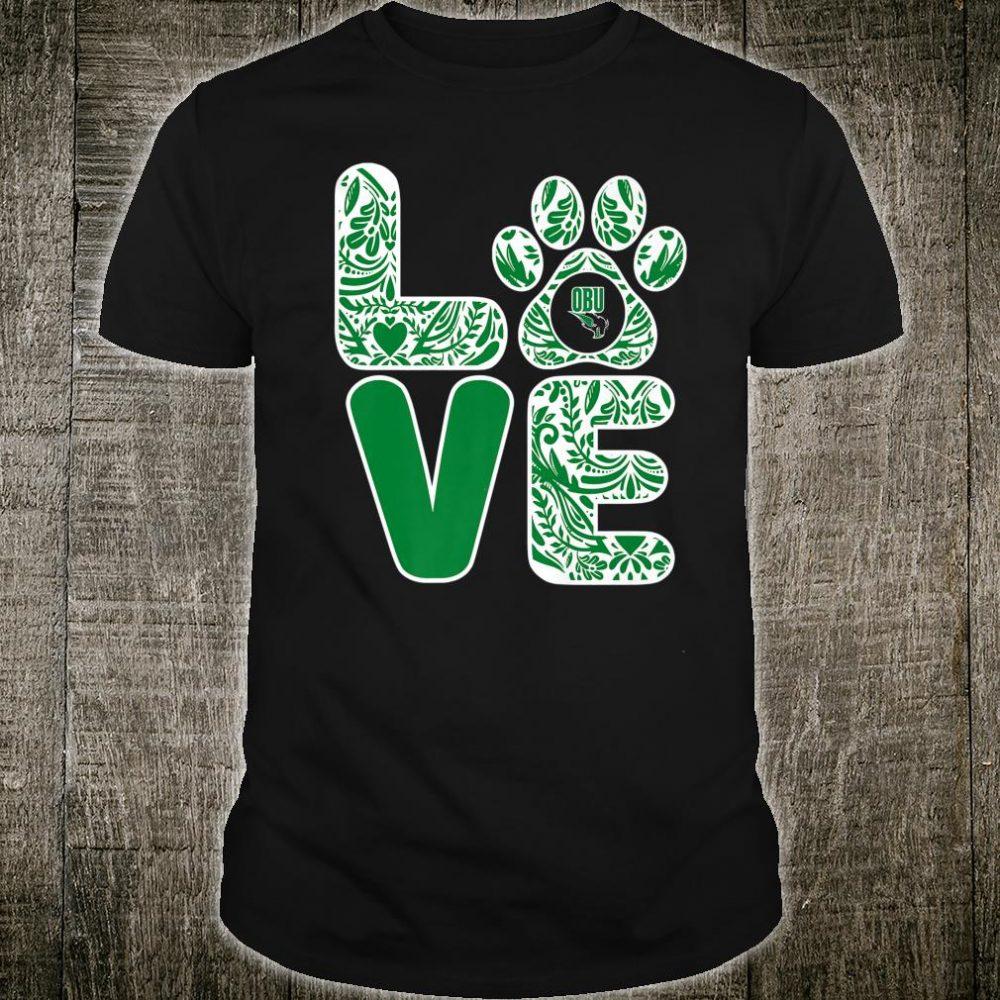 Oklahoma Baptist Bison Stacked Paisley Love Paw Team Shirt
