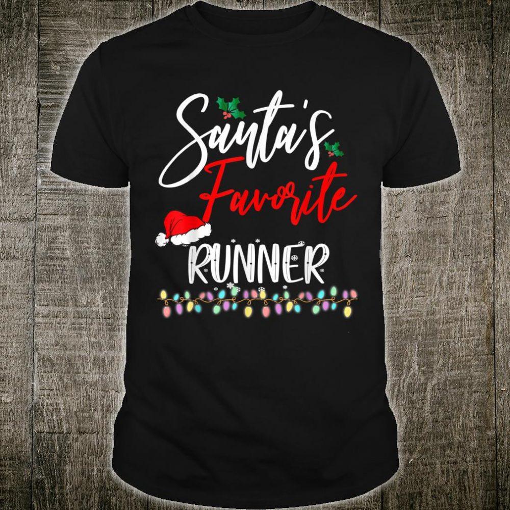 Santa's Favorite Runner Santa Hat Christmas Lights Shirt