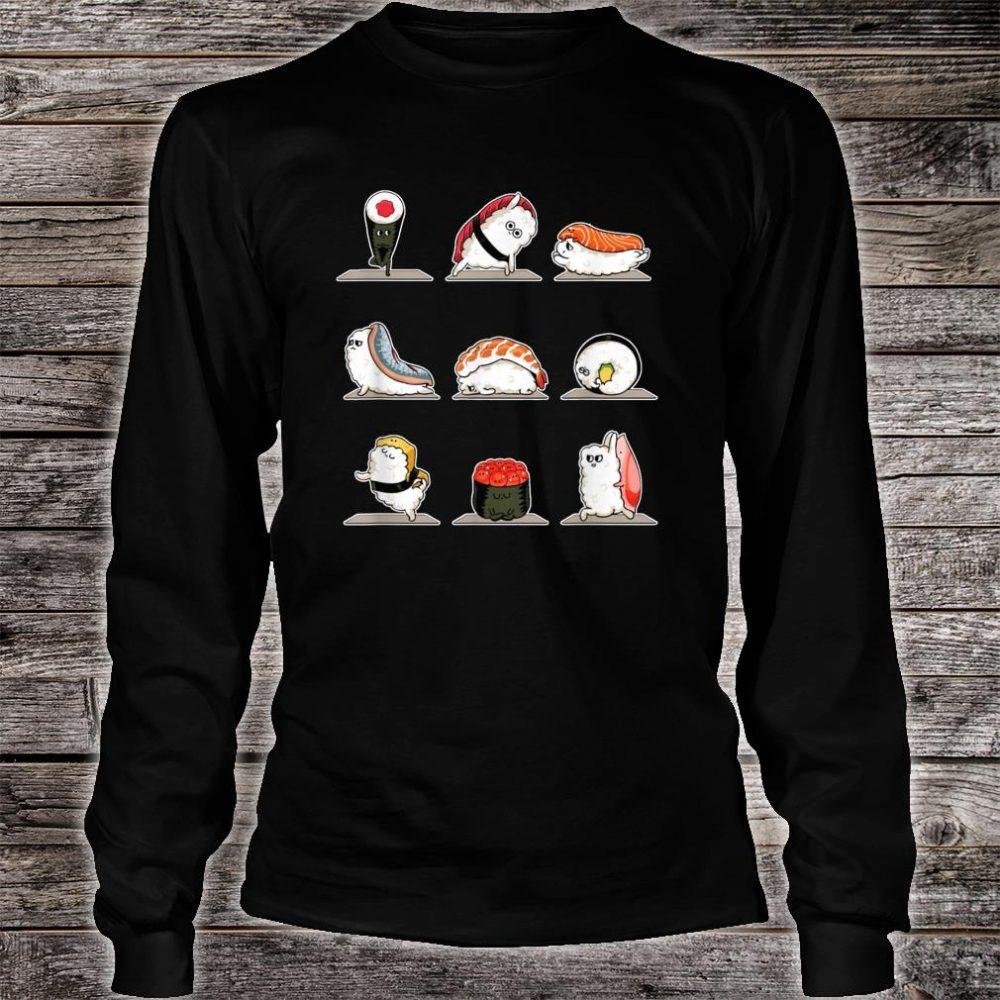 Sushi Sashimi Doing Yoga Stance Move Meditation Foodie Shirt long sleeved