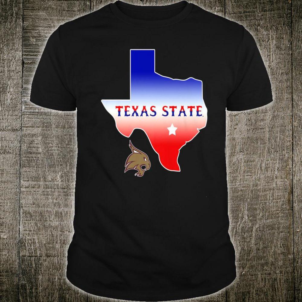 Texas State Bobcats Texas Blur Color Flag Map Fan Shirt