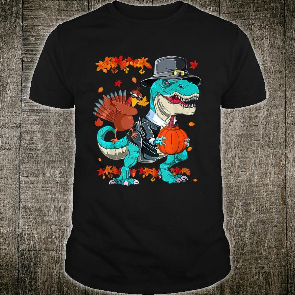 Thanksgiving TRex Dinosaur Dabbing Turkey Boy Shirt