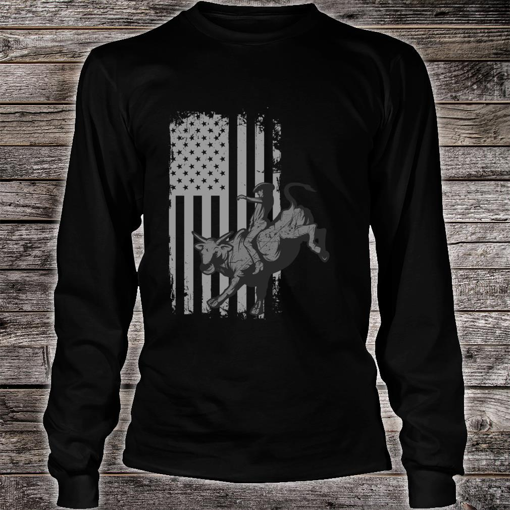 Vintage American Flag Bucking Bull Riding Patriotism Rodeo Shirt long sleeved