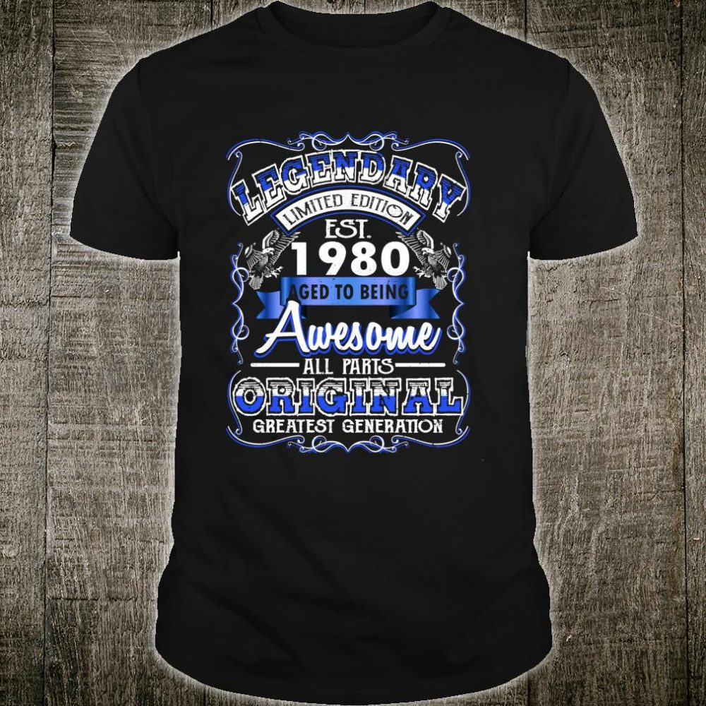 Vintage Awesome 1980 40th Birthday For 40 Years Old Shirt