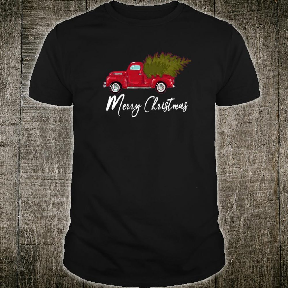 Vintage Red Truck With Merry Christmas Tree Shirt