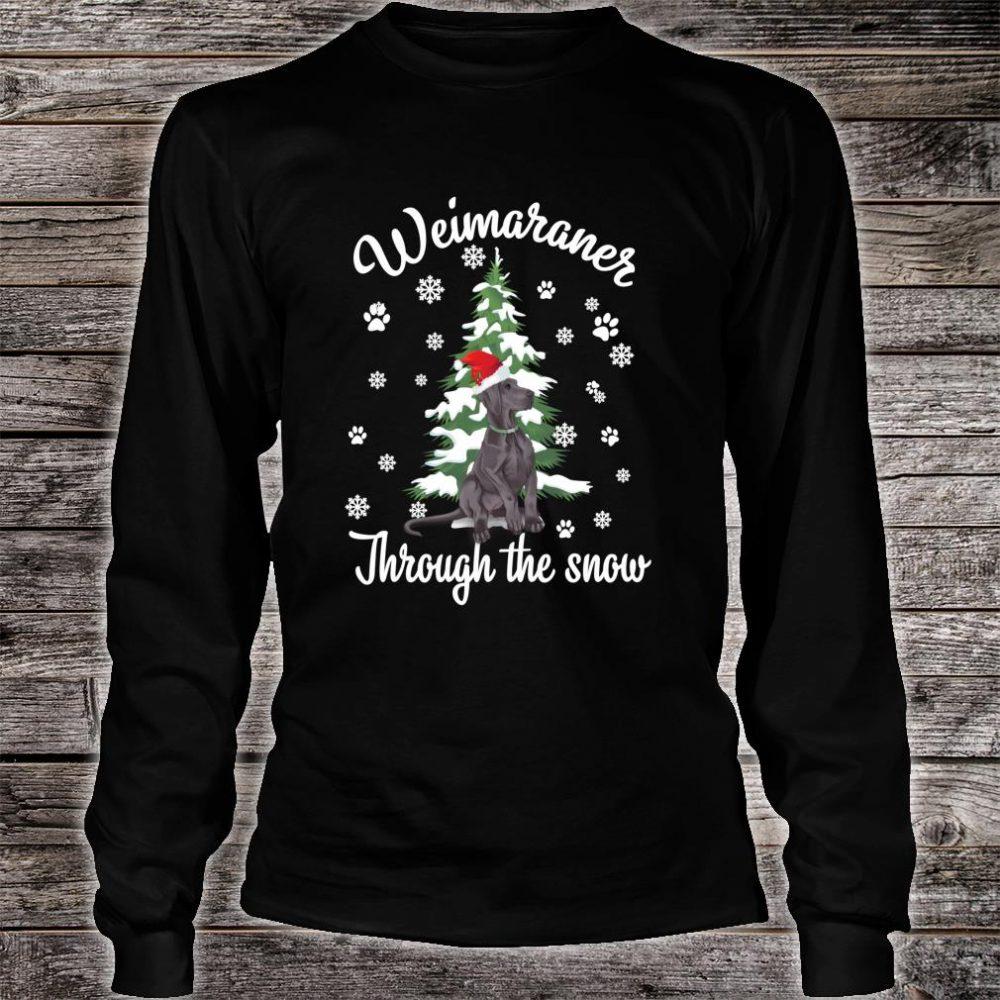 Weimaraner Through The Snow Christmas Dogs Shirt long sleeved