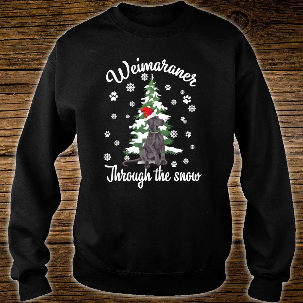 Weimaraner Through The Snow Christmas Dogs Shirt sweater