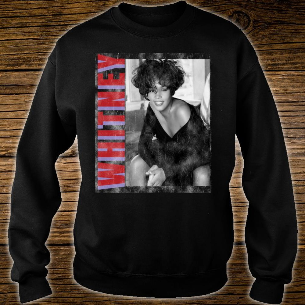 Whitney Houston Official Classic Photo Color Text Shirt sweater