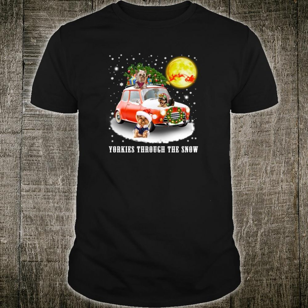 Yorkshire Terrier Dog Through Snow Christmas Shirt